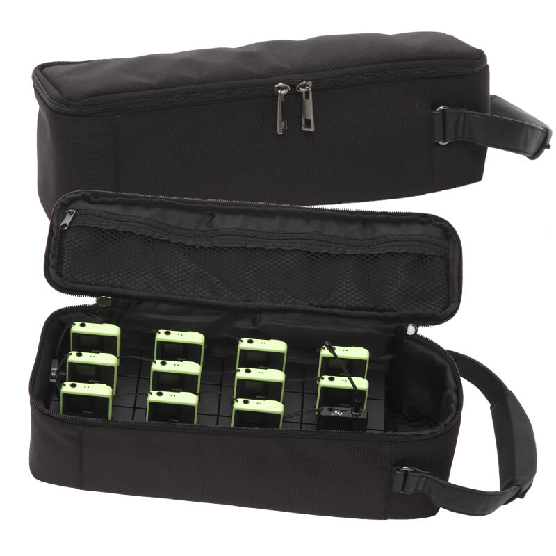 Charging and transport bag for tour guide system 12 devices